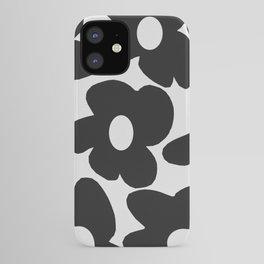Black Retro Flowers White Background #decor #society6 #buyart iPhone Case