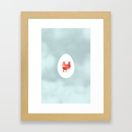 Rooster in the Sky with Eggs Framed Art Print