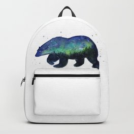 Polar Bear Silhouette with Northern Lights Galaxy Backpack