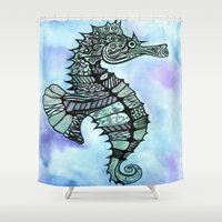 tatoo Shower Curtains featuring Tatoo Seahorse by PepperDsArt