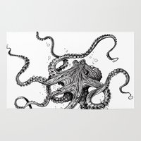 shower Area & Throw Rugs featuring Octopus by TAOJB
