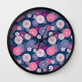 Japanese Neck Gator Japanese Flowers Pattern Wall Clock