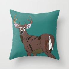 Deer In The Green Throw Pillow