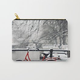 Red Bike in the Snow Carry-All Pouch