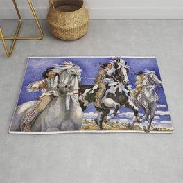 """Ponies and Braves"" by Susan Jeffers  Rug"