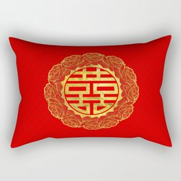 Gold Double Happiness Symbol in Peony Frame Rectangular Pillow
