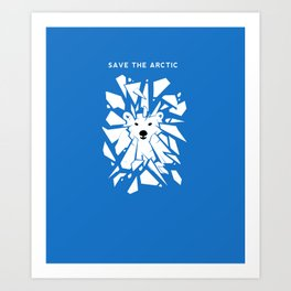 Save the Arctic Polar Bear and Melting Ice Caps Art Print