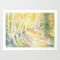 forrest Art Prints featuring Forrest by Susie McColgan