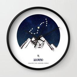Astrology Scorpio Zodiac Horoscope Constellation Star Sign Watercolor Poster Wall Art Wall Clock