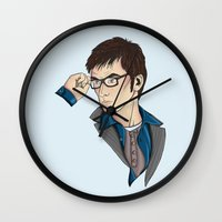 david tennant Wall Clocks featuring Dr Who David Tennant by Hungry Designs