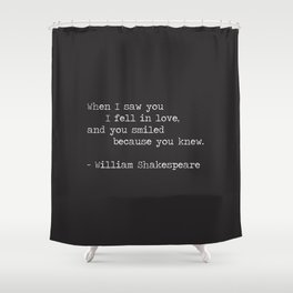 Shakespeare Quote: LOVE (white on black) Shower Curtain