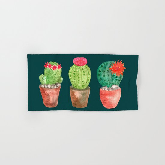 Three Cacti watercolor green Hand & Bath Towel