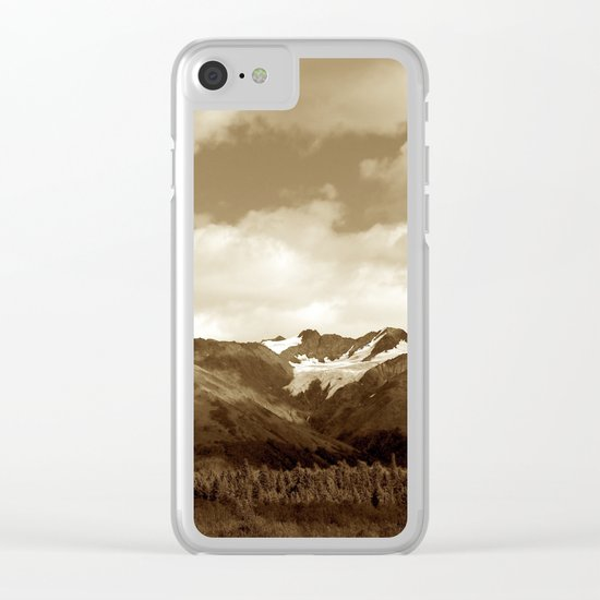 Alaskan Mountain Vista - Sepia Clear iPhone Case