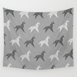 Origami Unicorn Grey Wall Tapestry