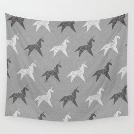 Origami Unicorn Grey Wall Tapestry