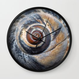 Blue and Gold spiral seashell Wall Clock