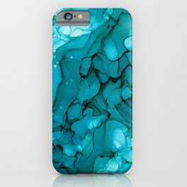 Turquoise Dip Abstract: Original Alcohol Ink Painting by Herzart iPhone Case