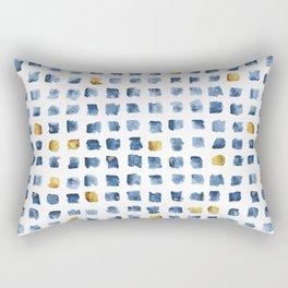 Watercolor Indigo Gold Geometrical Squares Pattern Rectangular Pillow