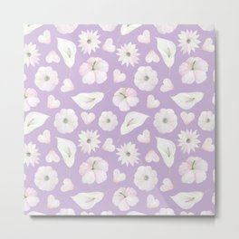 Modern purple lavender pink watercolor white flowers Metal Print