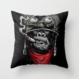 smoking chimp Throw Pillow