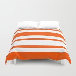 Mixed Horizontal Stripes - White and Dark Orange Duvet Cover