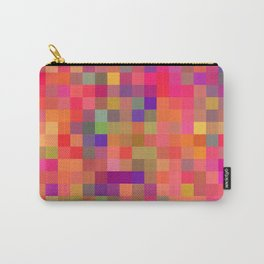 geometric square pixel pattern abstract in pink blue yellow Carry-All Pouch