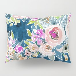 NAVY SO LUSCIOUS Colorful Watercolor Floral Pillow Sham