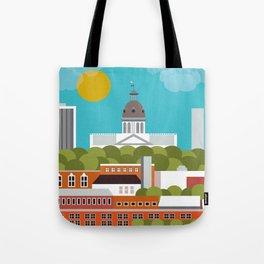 Columbia, South Carolina - Skyline Illustration by Loose Petals Tote Bag