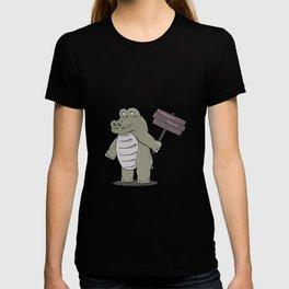 hippopotamus with happy hour sign T-shirt