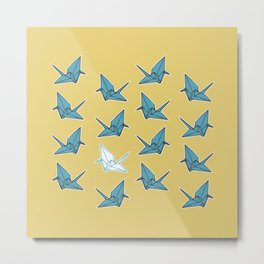 PAPER CRANES BABY BLUE AND YELLOW Metal Print