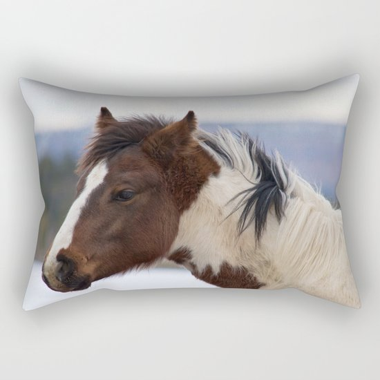 Tri-Colored Horse Rectangular Pillow