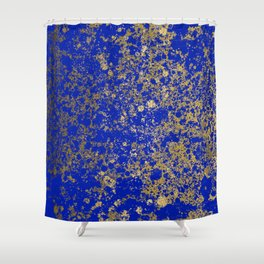 Royal Blue and Gold Patina Design Shower Curtain