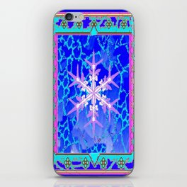Blue Frozen Snowflake Abstract Art iPhone Skin