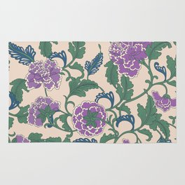 traditional purple-coloured flower Rug