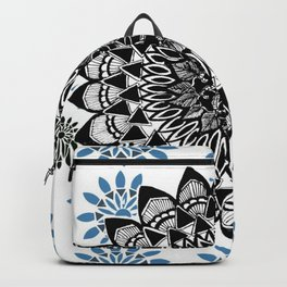 Black Hand-Drawn Mandala on Digital Mandala Textile Backpack