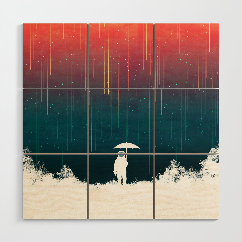 Meteoric Rainfall Wood Wall Art By Budikwan Society6