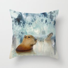 Capybara Springs Throw Pillow