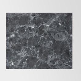 Black marble texture Throw Blanket