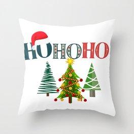 HO HO HO Merry Christmas Tree Santa Original Design Throw Pillow