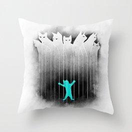 Clowder (White) Throw Pillow