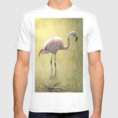 Flamingo White MEDIUM Mens Fitted Tee
