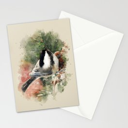 Chickadee Watercolor Art Stationery Cards
