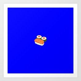 Sushi emoji on internet blue Art Print