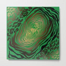 Trendy Golden and green zebra print  Metal Print