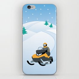 Snowmobiling on a Snowy Winter Day iPhone Skin