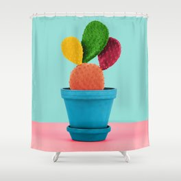 Colorful popart cactus Shower Curtain