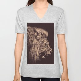 lion pencil art lion roar black and white Unisex V-Neck