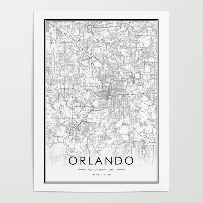 Olando City Map United States White and Black Poster by victorialyu