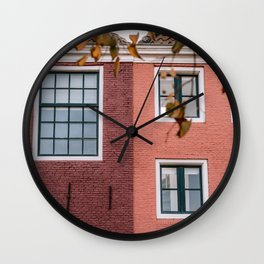 Red and Pink houses || Colorful travel photography Building Architecture Cityscape City Fall Autumn Pastel Wall Clock