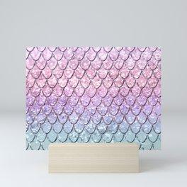 Mermaid Scales on Unicorn Girls Glitter #1 #shiny #pastel #decor #art #society6 Mini Art Print